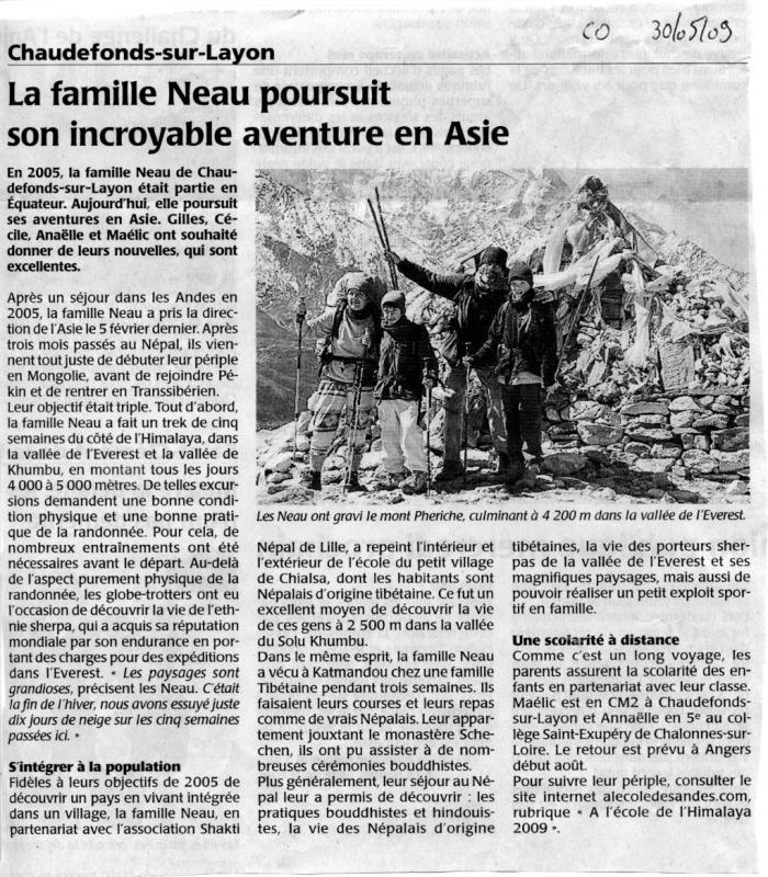 Courrier Ouest 30/05/09, Andes - News 143 (26/02/19) invisible