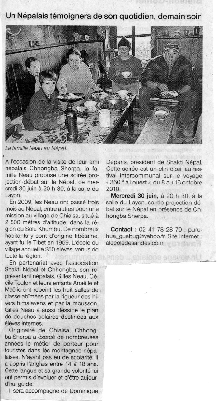 Ouest France 29/06/10, Andes - News 143 (26/02/19) invisible