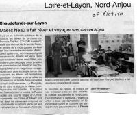 Courrier  l'Ouest 09/07/10, Andes - Asie
